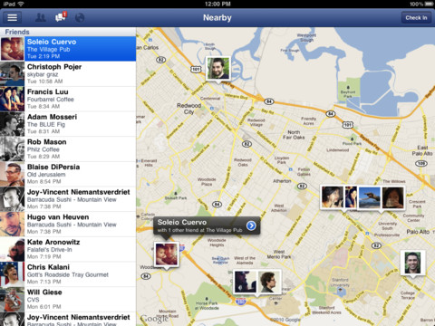 Facebook for iPad Map