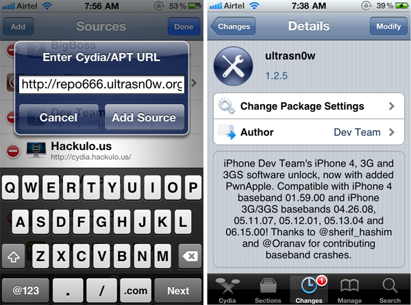 Ultrasn0w 1.2.5 - Unlock iOS 5.0.1 on iPhone 4/3GS