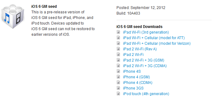 Download iOS 6 GM Build 10A403 For iPhone 4,4S, iPod Touch and iPad