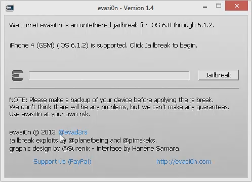 Evasi0n iPhone 4 iOS 6.1.2 Connected