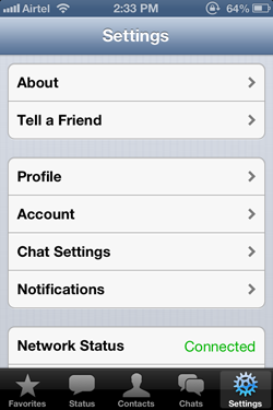 WhatsApp For iPhone Settings